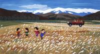 秋のすすき野原でピクニックをする家族 02237013469| 写真素材・ストックフォト・画像・イラスト素材|アマナイメージズ