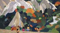 秋の紅葉する山で遊ぶ家族 02237013471| 写真素材・ストックフォト・画像・イラスト素材|アマナイメージズ
