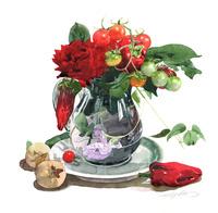赤いバラと夏の野菜