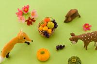 秋の果物と動物たち