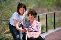 携帯電話を見る日本人の女性と車椅子に乗る老人女性 02247000006  写真素材・ストックフォト・画像・イラスト素材 アマナイメージズ