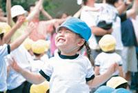 運動会の日本人の女の子