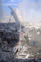 水たまりとがれきと消防士 NY アメリカ 2001年9月 02265007565| 写真素材・ストックフォト・画像・イラスト素材|アマナイメージズ