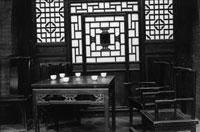 平遥の飲食店とインテリア B/W 2001年 山西省 中国