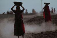 旱魃の大地を歩く女性 ジョドプル インド 02265022335| 写真素材・ストックフォト・画像・イラスト素材|アマナイメージズ