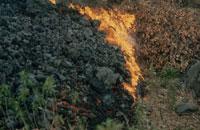 噴火したエトナ山の炎と焼け跡 シシリー島 イタリア