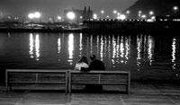 夜の港 バルセロナ スペイン
