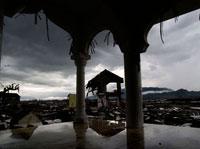 津波襲来後の島
