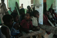 難民キャンプの学校の子供、ソマリア