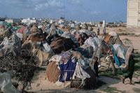 難民キャンプに建てられたテント、ソマリア
