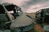 ヘリコプターの瓦礫 フォークランド諸島 1984年