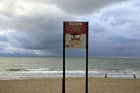 サメに注意する看板が出たビーチで遊ぶ2人