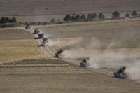 ロシア軍戦車の列