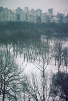 USA. New York City, 1978. Skiers in the snow in Central Park