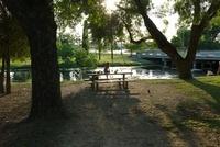 川辺のテーブルに座る少女