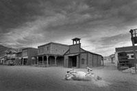 仰向けの馬と古い西洋の町並み
