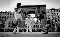 屋外のボクシングの試合の模様