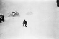 吹雪の中を歩く少年