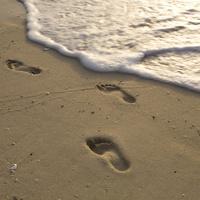 浜辺に残された足跡
