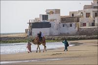 海岸でラクダに乗る人々