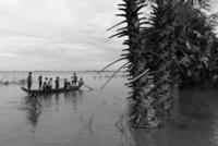 洪水被害にあった地域をボートで回る住民