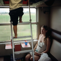 France. The family summer holiday. A couchette on the sleeper train from Narbonne to Calais.