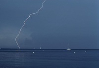 FRANCE. Antibes. Lightning during a summer storm. 1992.