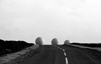 """GB. ENGLAND. Sculpture Exposed. (Carving and Controversy)  Geodesic domes on the North Yorkshire Moors. """"Radomes"""" of RAF Fylingd"""