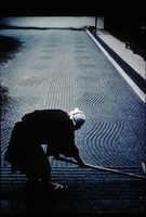 JAPAN. Kyoto. 1961. A monk arranges sand patterns in the rock garden of Ryoanji Temple.