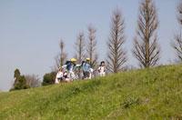 登下校する6人の日本人の小学生の子どもたち