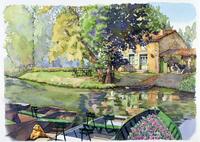 家の前の池に浮かぶボート 水彩イラスト