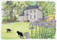 煉瓦の家の庭の2匹の犬 水彩イラスト