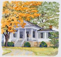 紅葉した木がある家 水彩イラスト