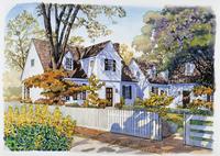 庭に木がある家 水彩イラスト