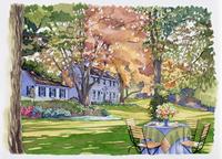 家の庭にあるテーブルと椅子 水彩イラスト