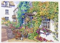 壁にツタがからむ家の玄関 水彩イラスト 02290000009| 写真素材・ストックフォト・画像・イラスト素材|アマナイメージズ