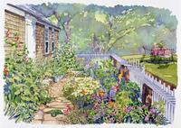 家の庭に咲く花の風景 水彩イラスト