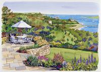 高台にある庭の風景 水彩イラスト