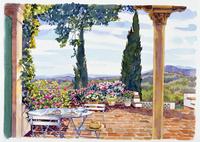 高台にあるポーチの風景 水彩イラスト