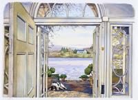 湖が前にあるポーチの扉 水彩イラスト