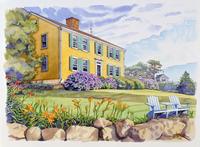 花が咲いている家の庭の風景 水彩イラスト