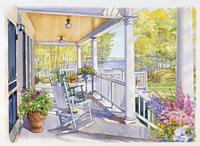 椅子が並ぶポーチの風景 水彩イラスト