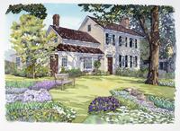 花が咲く庭のある家の風景 水彩イラスト