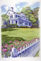 チューリップが咲く庭の風景 水彩イラスト