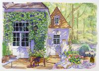 壁にツタがからむ家 水彩イラスト