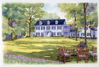 テーブルがある家の庭の風景 水彩イラスト