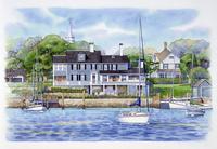 ボートが浮く海の前にある家 水彩イラスト
