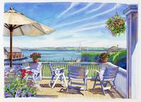 テーブルと椅子のあるポーチ 水彩イラスト 02290000024| 写真素材・ストックフォト・画像・イラスト素材|アマナイメージズ