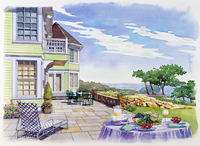 家のデッキの風景 水彩イラスト