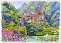 庭のある煉瓦造りの家 水彩イラスト